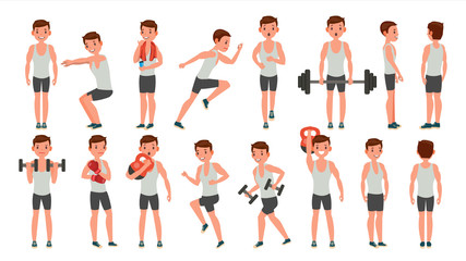 Fitness Man Vector. Different Poses. Weight Training. Exercising Male. Man Figures Is Training On Sport Club. Isolated On White Cartoon Character Illustration
