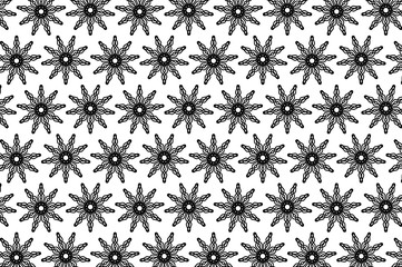 Abstract vector pattern - black and white - snowflake, flower, star, sun