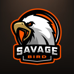 Savage bird. Eagle sports logo.