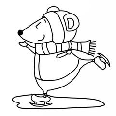 cute mouse ice skating cartoon illustration
