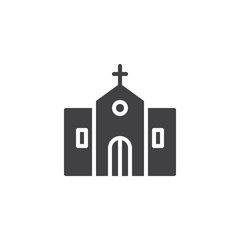 Church building exterior icon vector, filled flat sign, solid pictogram isolated on white. Religion symbol, logo illustration