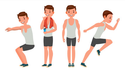 Fitness Man Vector. Different Poses. Variety Of Sport Movements. Cartoon Character Illustration