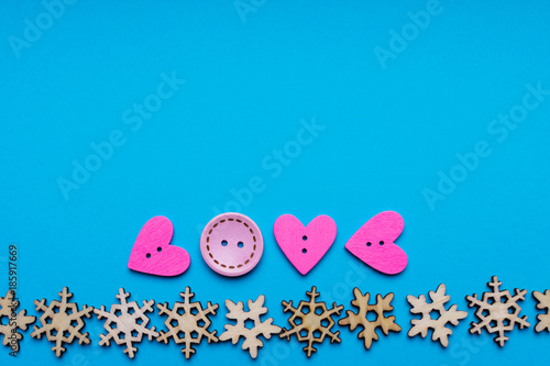 Christmas decoration and heart shaped buttons