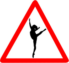 ballet dancer dance school caution red triangular road sign isolated on white background