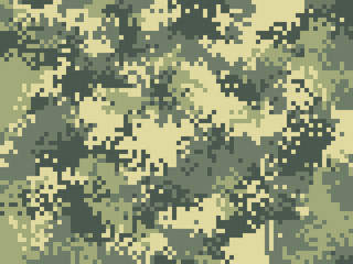 Digital pixel camouflage pattern. Military texture background. Green army camouflage