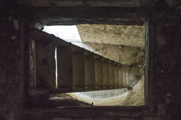 Stairs and underground cellar in old medieval tower