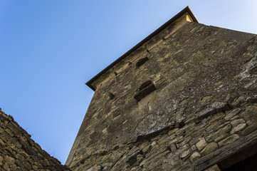Detail of a dark ancient medieval tower