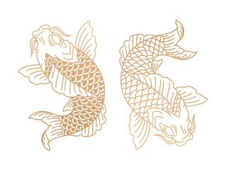 Koi fish. Japanese carp fish. Vector illustration