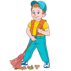 Kids in Professions. Cartoon street cleaner (sweeper) sweeping out autumn leaves. Design for children's coloring book.