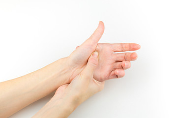 Woman holding her hand, pain concept, isolate on white background.