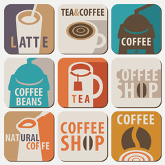 Set of vector logo and icons for hot drinks tea and coffee with lettering in flat style on white background