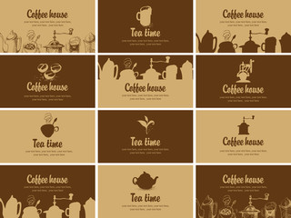 Vector set of business cards for restaurant, cafe or coffee house on the topic of tea and coffee in retro style