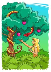 The Serpent tempts Eve to take the Forbidden Fruit (color)