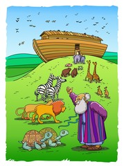Noah invites animals to enter the Ark (color)