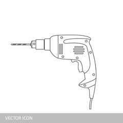 Manual electric drill. Vector icon in the style of linear design.