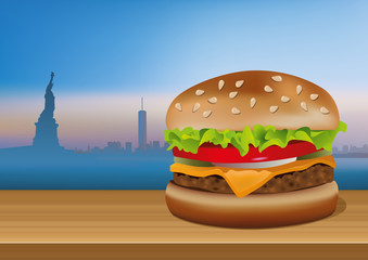 burger - hamburger - fastfood - américain - Amérique - symbole - concept - New-York - Manhattan