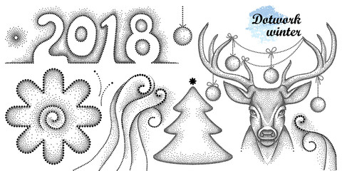 Vector dotwork set with number 2018, holiday Christmas tree, snowflake, swirls and deer head in black isolated on white background. Winter decor element for New Year and Christmas holiday design.
