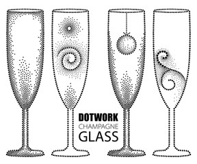 Vector set with dotted champagne glass or flute in black isolated on white background. Drawing of transparent champagne glass for wine, winery and restaurant design in dotwork style.