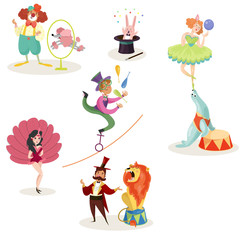 Characters in circus performers and animals in different actions. Carnival show. Set of decorative elements for poster, ticket, flyer or invitation. Flat vector design