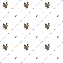 Seamless vector pattern. Cute reindeer. Christmas motif. Baby motif.