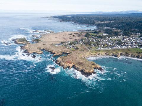 Aerial View of Mendocino Coast in Northern California