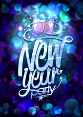 New Year party design with two champagne glasses