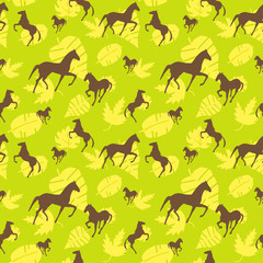 Brown horses seamless pattern. Can be used for textile, website background, book cover, packaging.