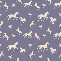 Horses seamless pattern. Can be used for textile, website background, book cover, packaging.
