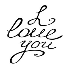 Valentine card with lettering I Love You. Beautiful vector design.