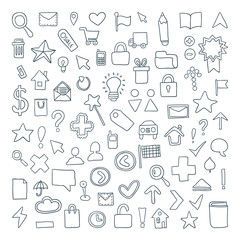 Vector Doodle Icons Set. It can be used as - logo, pictogram, icon, infographic element.