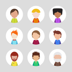 Set of people icons for avatars. Template for style design.