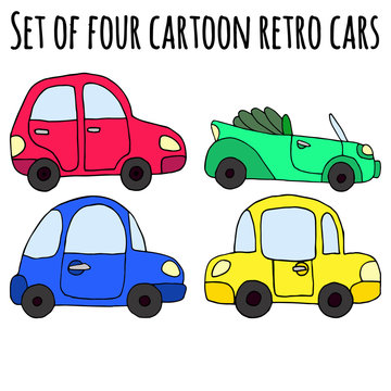 Set of four cartoon colorful retro car isolated on white backgro
