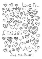 Doodle hearts set. Hand drawn. Template for style design.