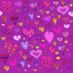 Love hearts seamless pattern. Doodle heart. Can be used for textile, website background, book cover, packaging.