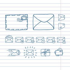 Mail icons. Template for style design.