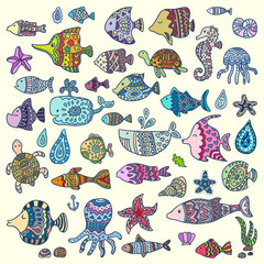 Collection of marine animals. Template for style design.