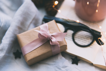 Wrapped gift, spectacles, book and fairy lights