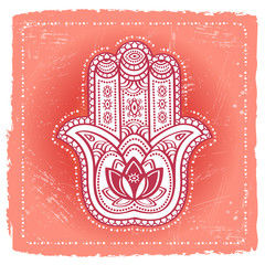 Indian hand hamsa on ethnic background. Ornate amulet for prints and posters
