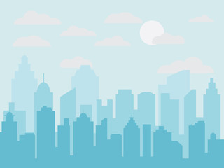 Abstract city building skyline with road and grass. Buildings silhouette. Urban Landscape. Cityscape background in flat style. Modern city landscape.