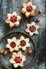 Traditional linzer cookies with berry jam.
