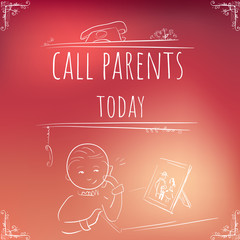 Hundred important reminders - notes - Call Parents - Red and flesh Gradient background