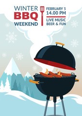 Winter barbecue party invitation. BBQ weekend on winter background. Grill illustration in snowy mountains. Cartoon design for flyer, menu, poster, announcement. Vector eps 10.