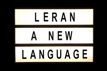 Learn a new language hanging light box
