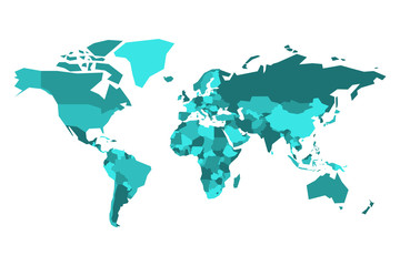 Wall Mural - Political map of World. Simplified vector map in four shades of tuquoise blue.