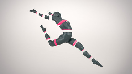 Abstract grey plastic human body mannequin with sliced pink body parts over white background. Action dance ballet pose. 3D rendering illustration