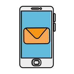 smartphone device with envelope vector illustration design