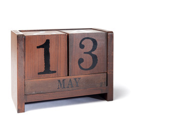 Wooden Perpetual Calendar set to May 13th