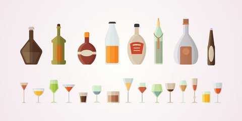 Set design alcohol bottles vector illustration