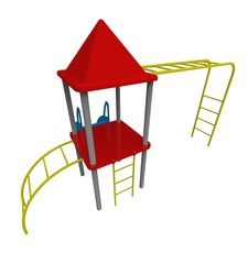 3d illustration of children playground. white background isolated. icon for game web.