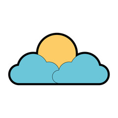 cloud and sun weather icon vector illustration design